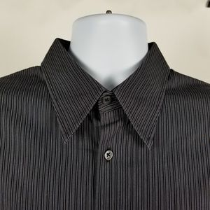 Hugo Boss Mens Black Gray Striped Dress Shirt XL